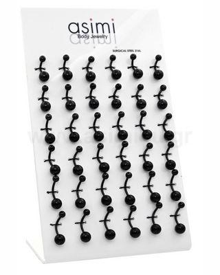Μαύρο σκουλαρίκι αφαλού Surgical Steel 316L