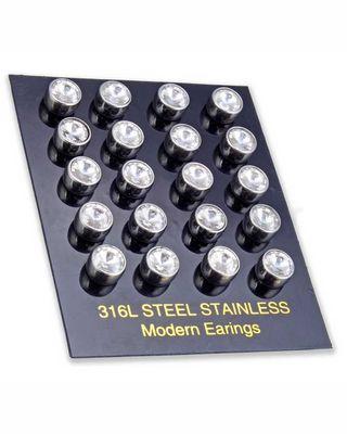 Μαγνητική τάπα 8mm με λευκή πέτρα