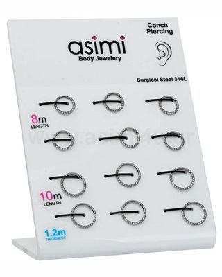 Hinged segment ring Septum 8/10mm with Zircon Surgical Steel 316L